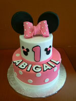 Pink Minnie Mouse Themed Birthday Cake